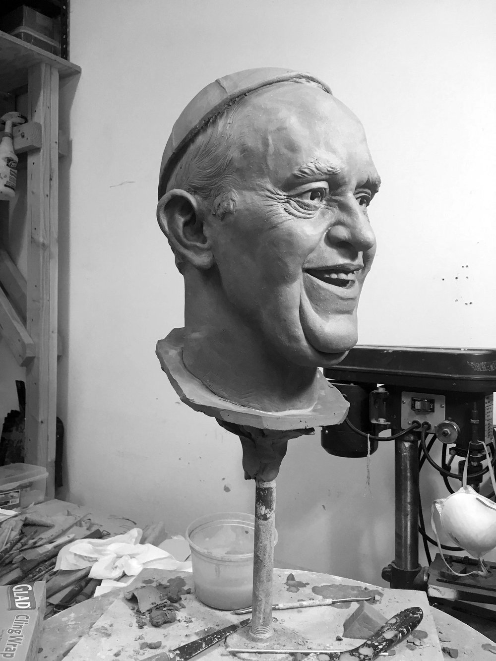 Pope Francis Portrait in Clay