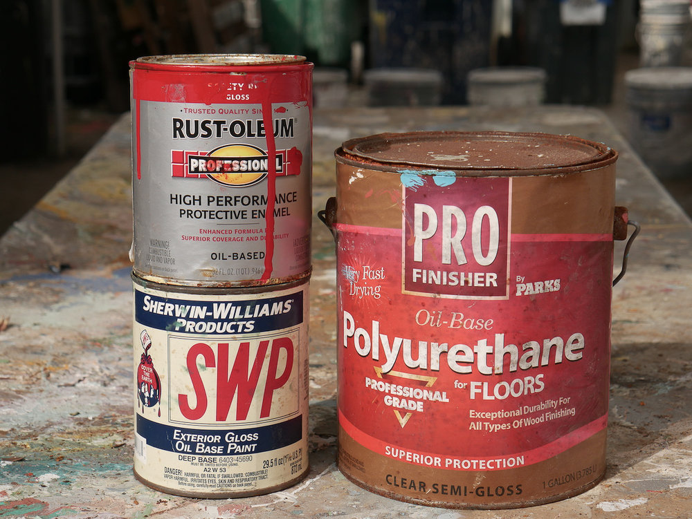 "Oil-Based Paint/Stain: Labels will say ""oil-based"" or advise cleanup with paint thinner or mineral spirits"