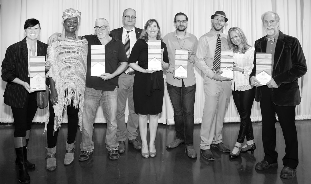 2018 Award Winning Designers.   (From left: Tammy Murray - Best in Furniture, presented by Doerr Furniture; Antoinette Reynolds and John Thornton - Best in Show; Anna and Vlad Ghelase - Best in Lighting; Avery Roff-Nichols - Most Innovative, presented by ASID South Central; Amanda Melerine and Jesse Findorff - Best in Art; Paul Troyano - Best Craftsmanship)