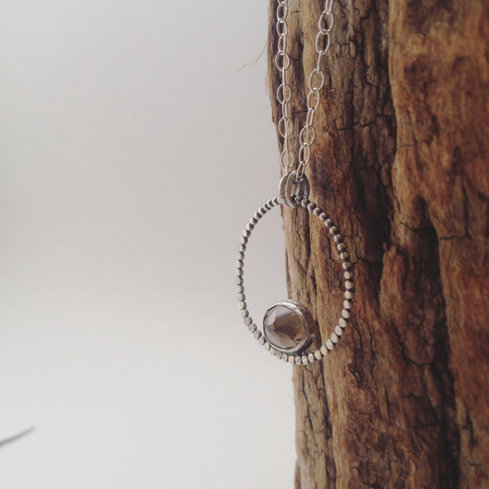 Faceted Smoky Quartz, 925 Sterling Silver