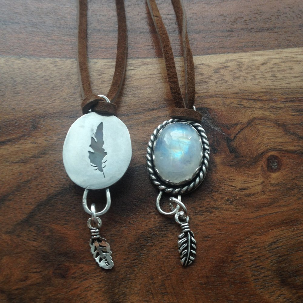 Twin Feather Pendants, Moonstone, Saw Pierced Sterling Silver