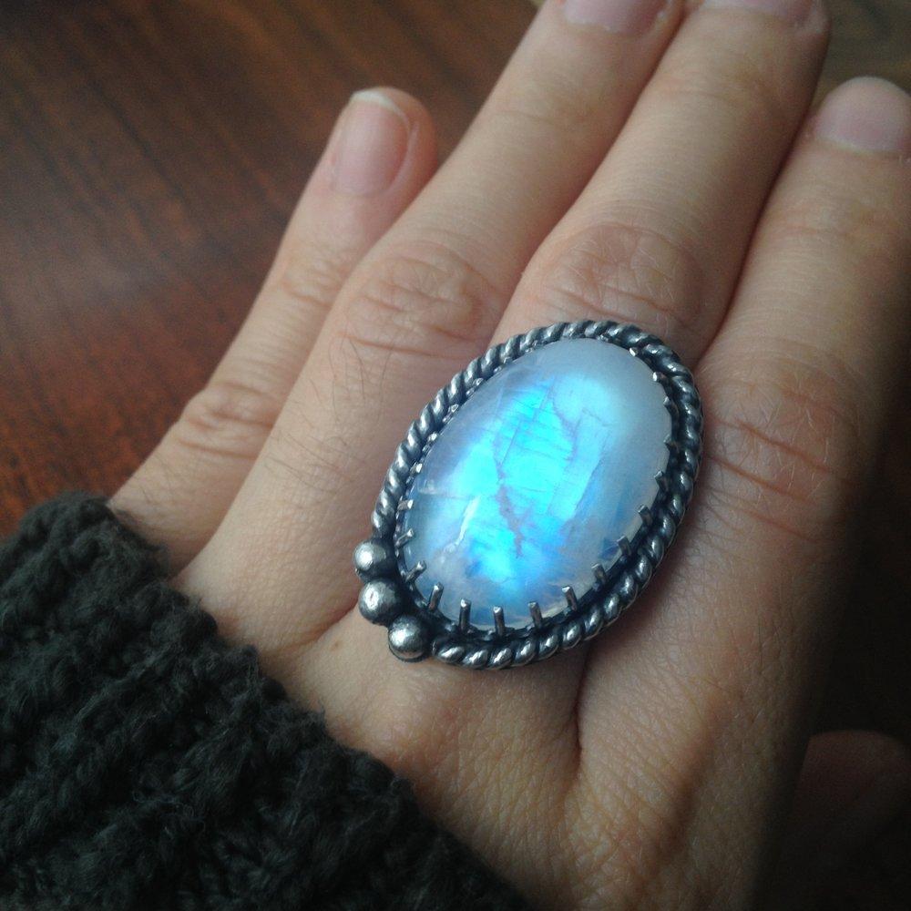 Twilight Luna Wolf Statement Ring, Rare Moonstone Glow