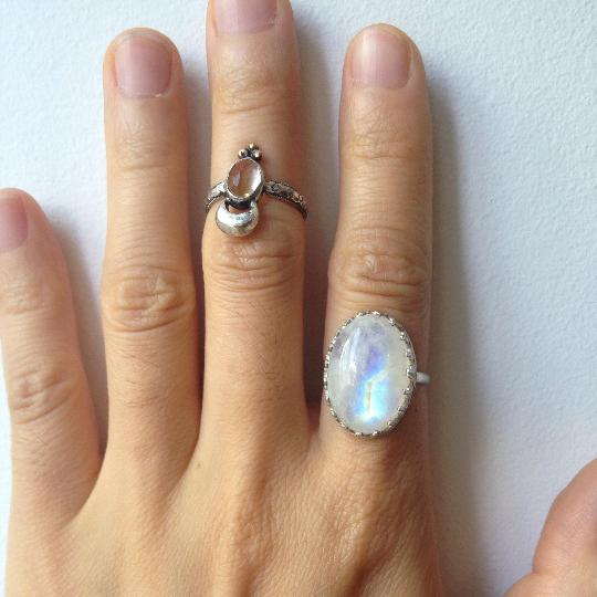 Rainbow Moonstone Ring, Rare Lightning Bolt Flash, Sterling Silver