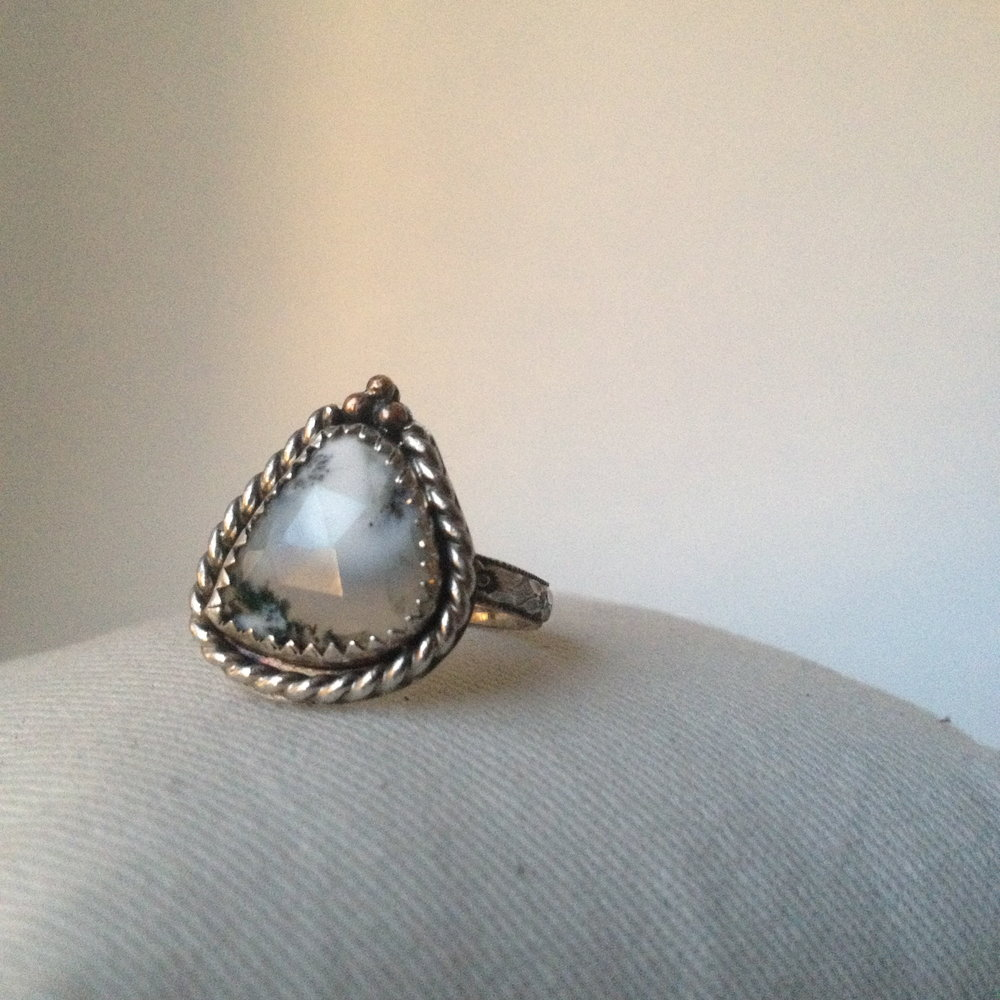 Black Frost Statement Ring, Sterling Silver, 14K Rose Gold fill details, Rose Cut Dendritic Opal // 3 available