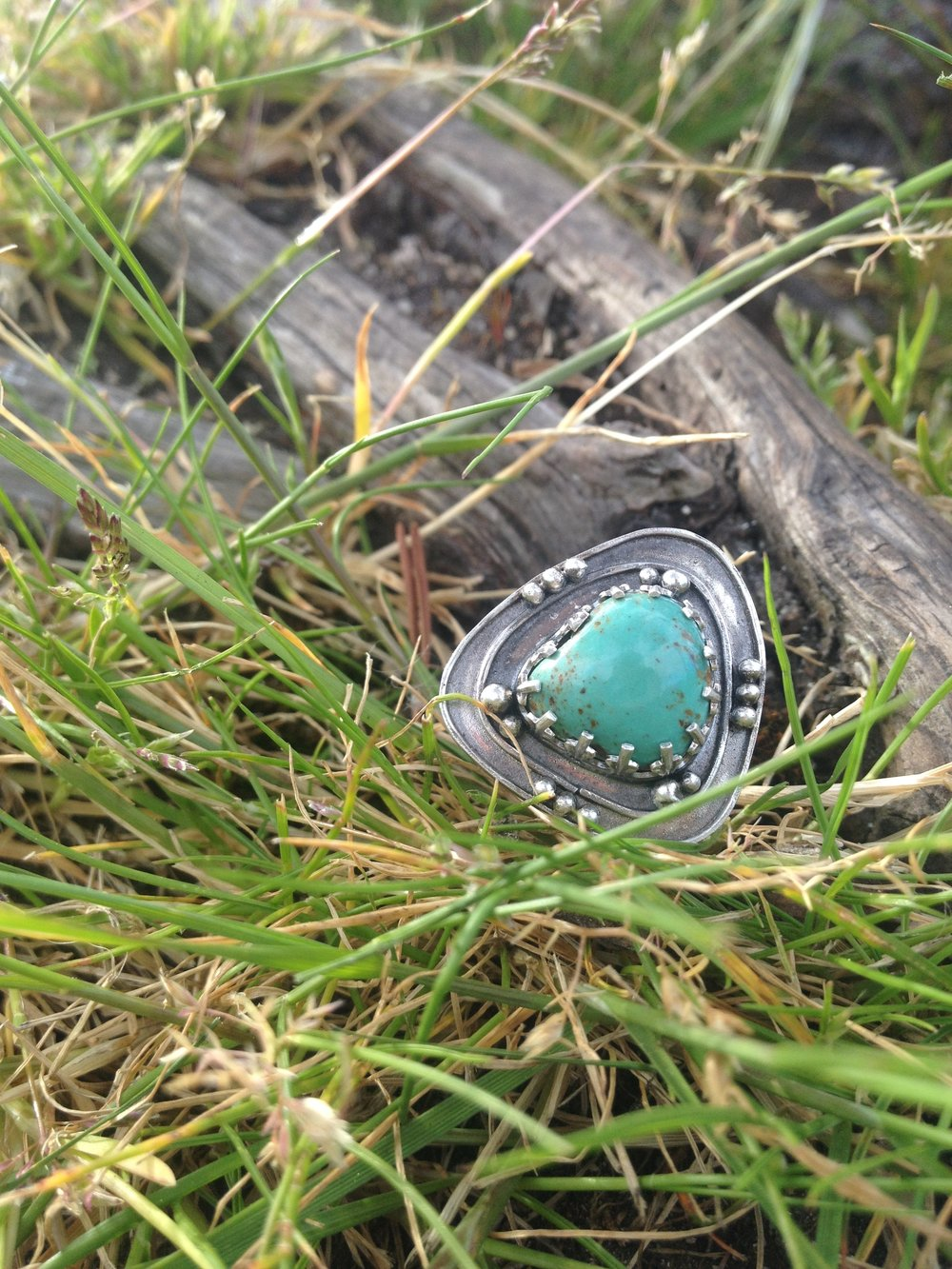 Hand Cut Unstabilized Royston Turquoise, Granulation Ring, Argentium Silver