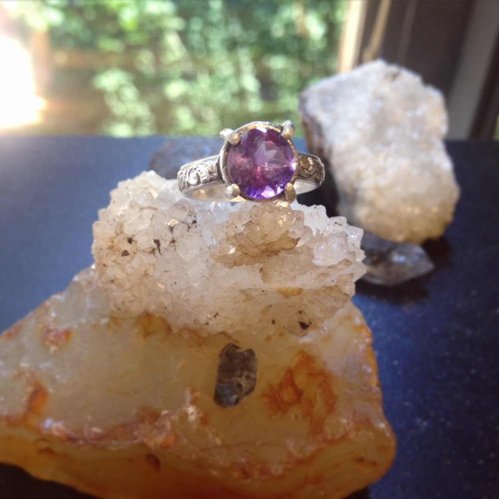 Faceted Amethyst, Prong Set Ring, Sterling Silver