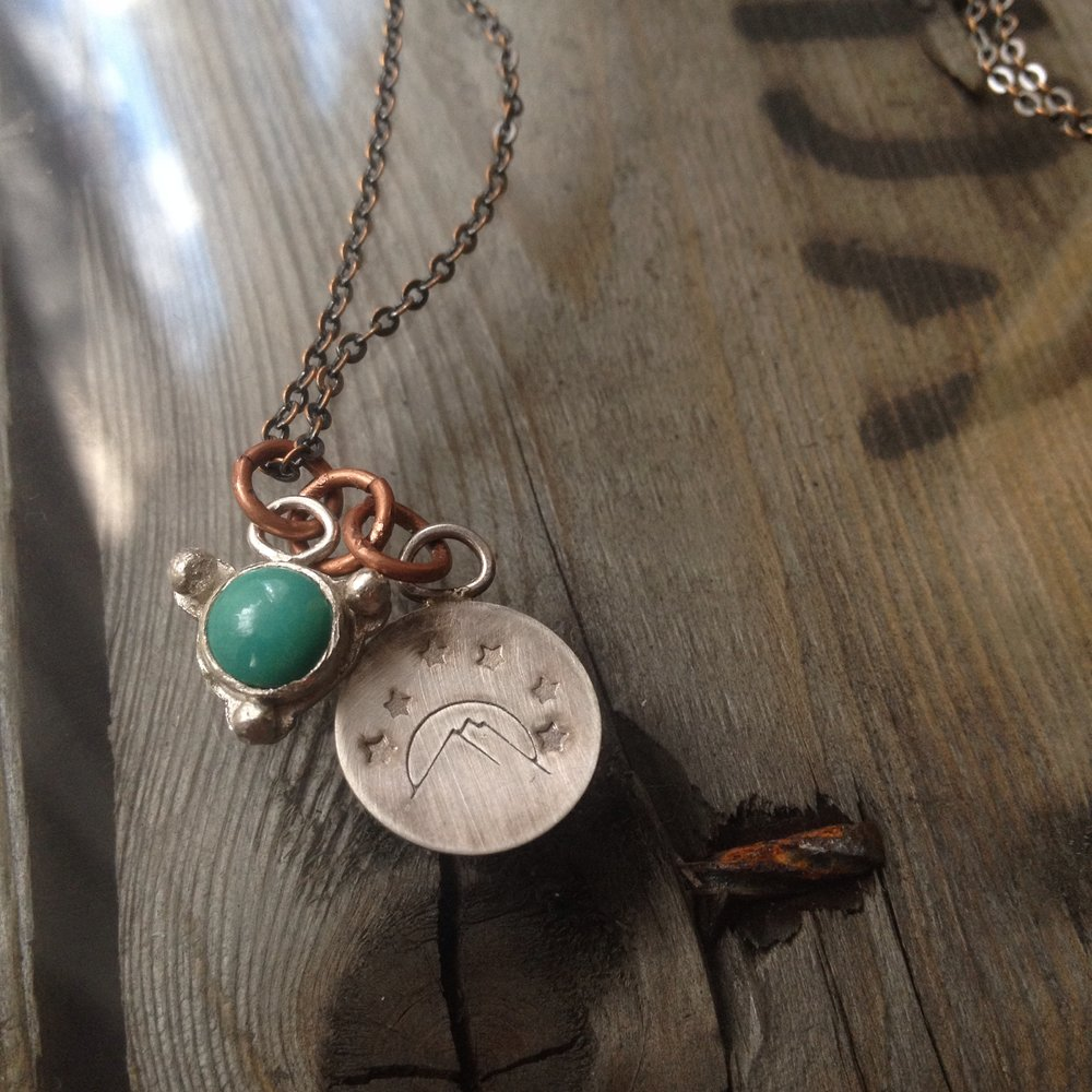 Sterling Silver Charms, Turquoise, Mountain Scene