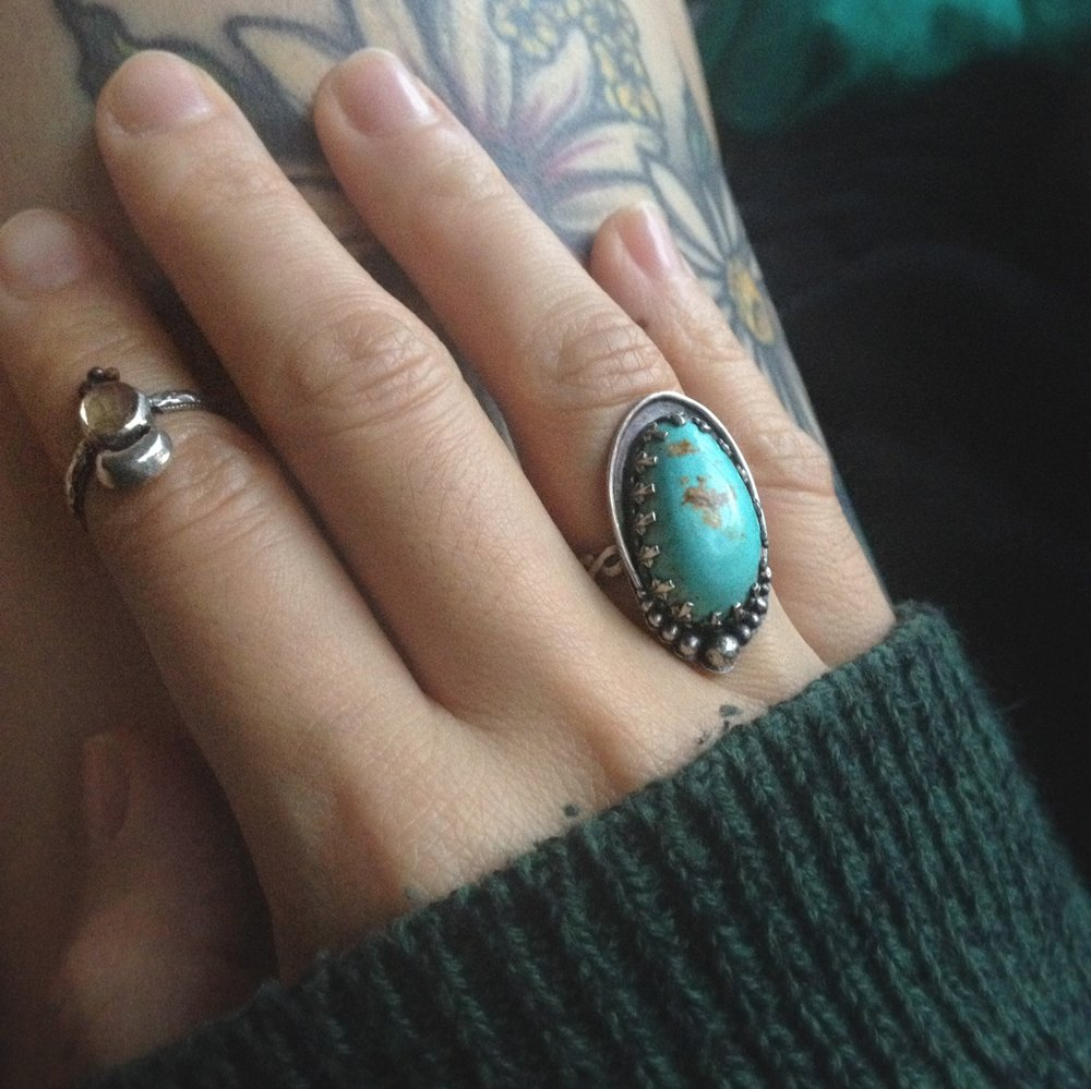 Hand Cut Unstabilized Royston Turquoise, Sterling Silver Ring