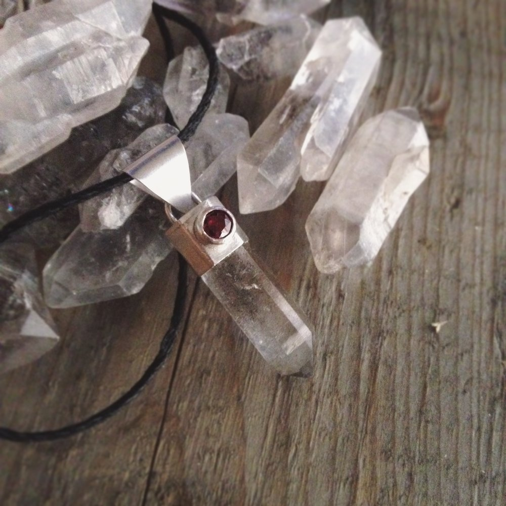 Tibetan Quartz Crystal, Sterling Silver Pendant with Garnet