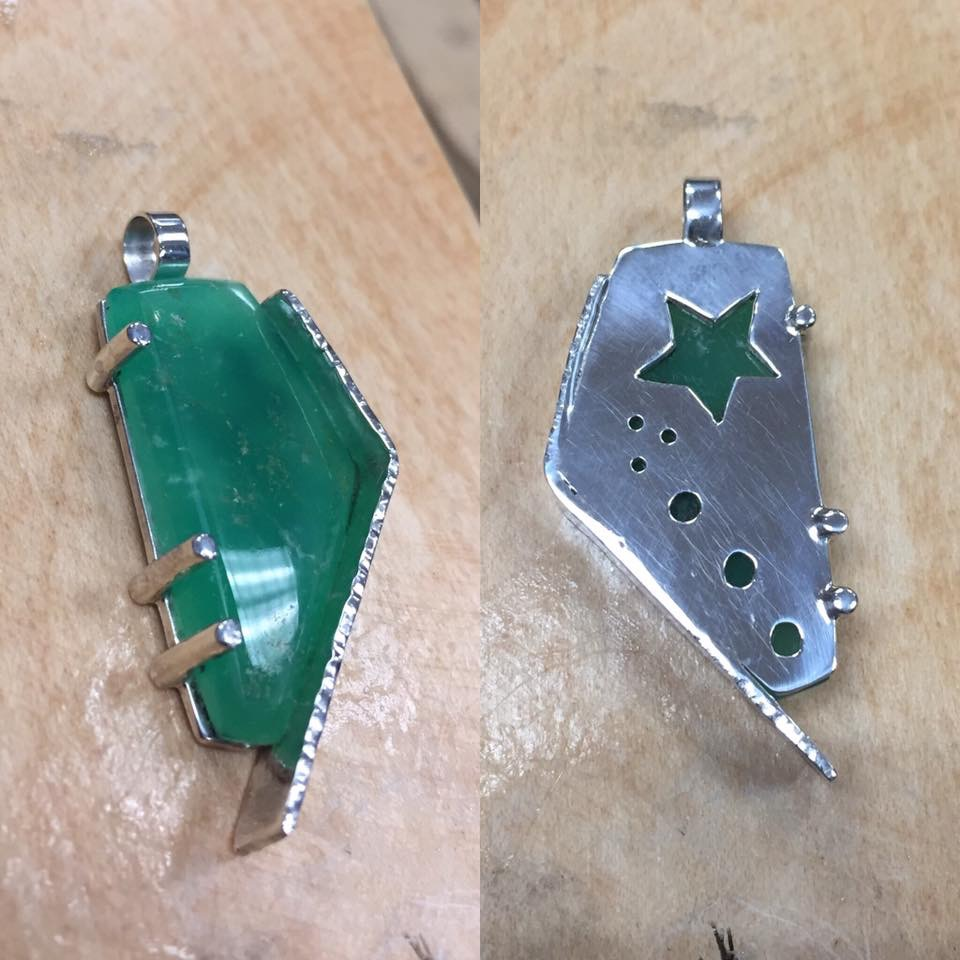 Unusual Hand Cut Chrysoprase Cabochon, Sterling Silver Pendant, Front - Back view, Stars