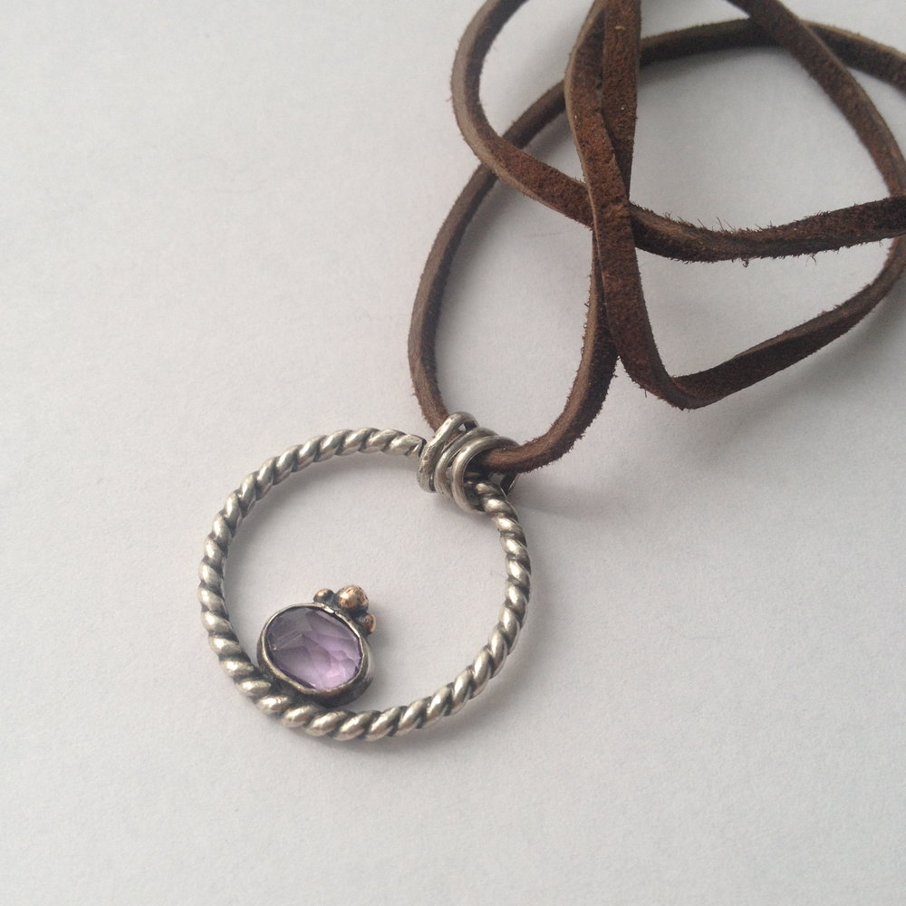 Balance Hoop pendant, sterling Silver, faceted amethyst, 14K Rose Gold