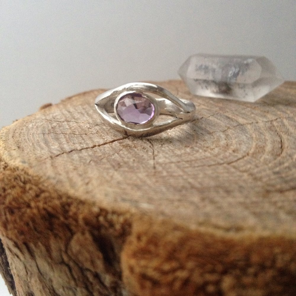 Faceted Amethyst Eye Ring, Sterling Silver