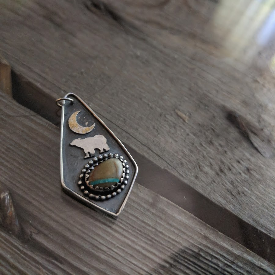 Whistler Bear Pendants - coming soon!   Hand Pierced Bear & Crescent Moon Sterling Silver Royston Ribbon Turquoise pictured, stones vary Oxidized Silver, meticulously spot polished  Layer it, Wear it Short, Wear it Long Suspended on suede lace necklace (not pictured)   only 2 available