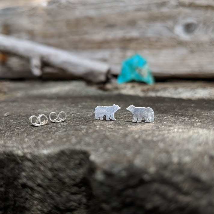 Cypress Bear Stud Earrings - $40.00   Hand Pierced Bears Sterling Silver   only 4 available