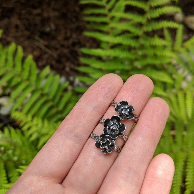 Bloom Flower Ring - $75.00   Hand Fabricated Flower Sterling Silver, Oxidized, Polished  Perfect statement piece to your stack collection   only 3 available - Size 6 Listed