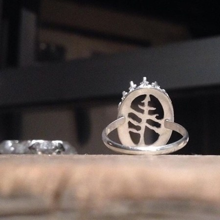 Sterling Silver Moonstone Ring; Custom Saw-Pierced Tree.