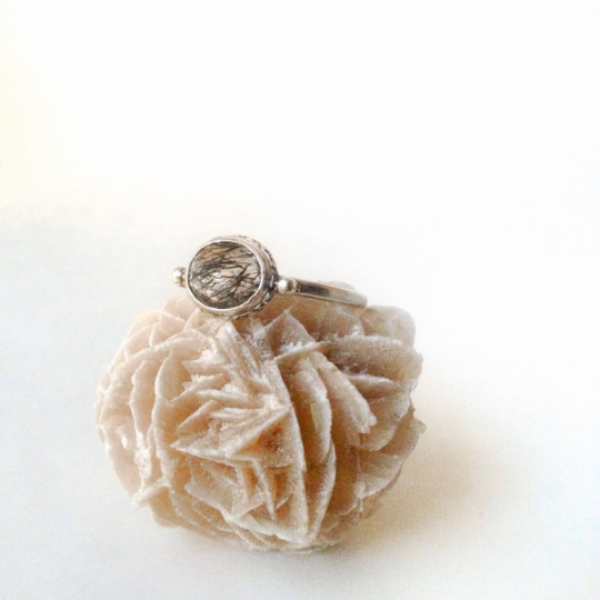 Faceted Tourmalinated Quartz - Sterling Silver Ring