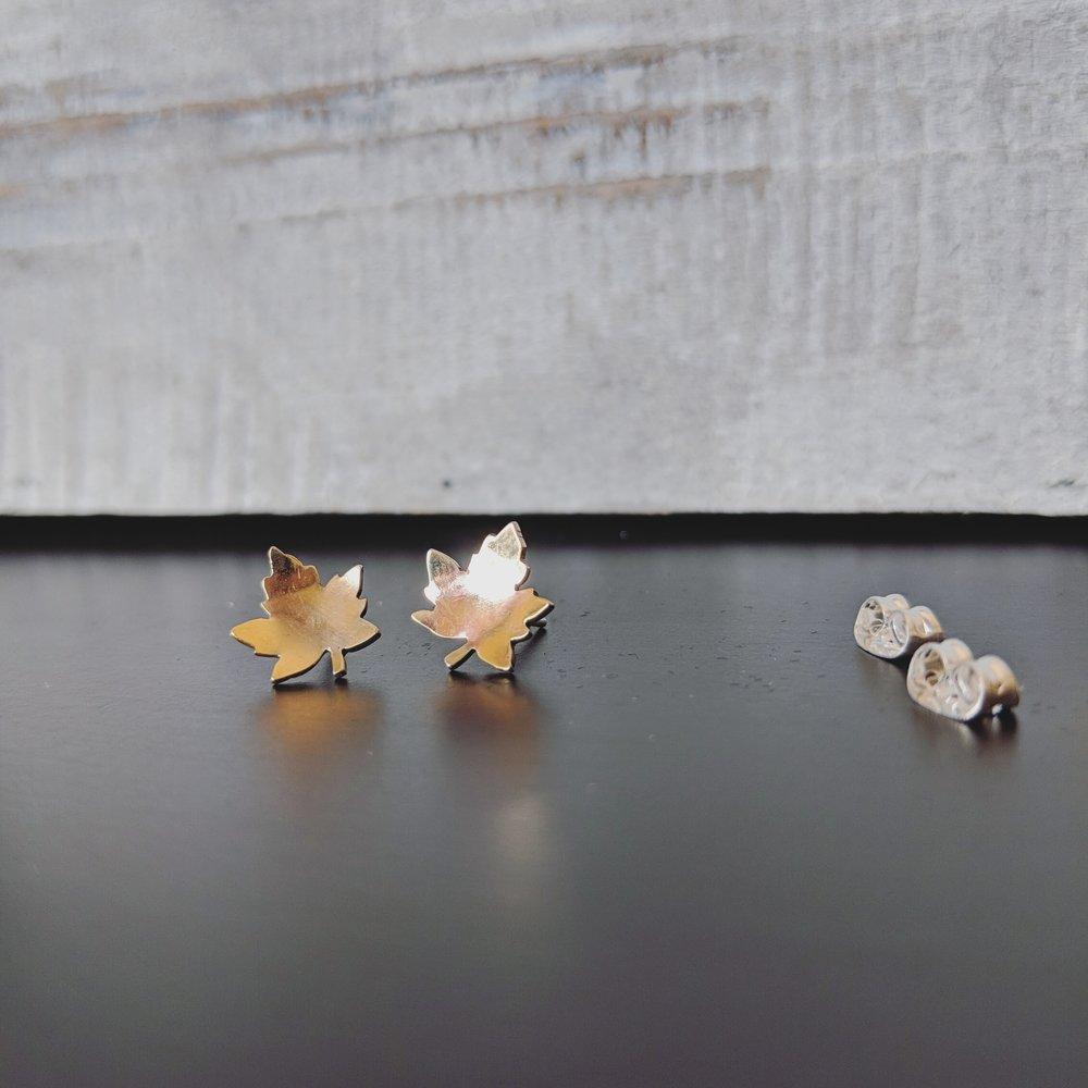 ckj-studs-earrings-brass-gold-handmade-jewelry-maple-leaf-canadian-vancouver-westcoast.jpg