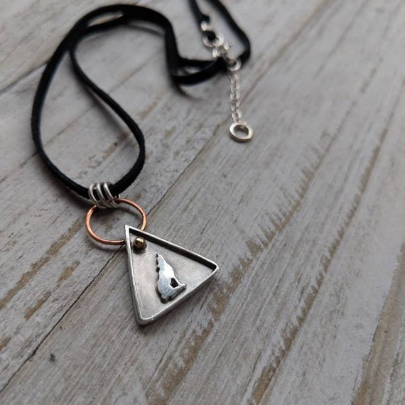 14k Rose Gold, 925 Sterling Silver, Genuine Suede Lace / West Coast Gray Wolf Necklace