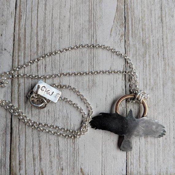 14k Gold filled, 925 Sterling Silver     Saw Pierced Raven Pendant