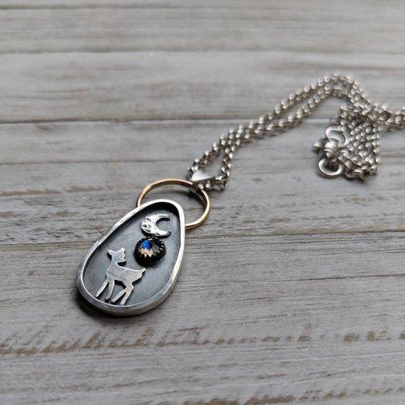14k Gold filled, 925 Sterling Silver, Labradorite Gemstone    Celestial Fawn Pendant Necklace