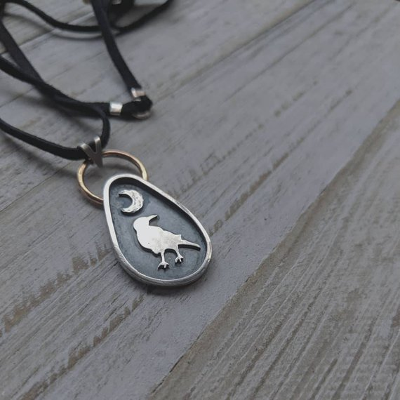 14k Gold filled, 925 Sterling Silver, Genuine Suede Lace   West Coast Raven Pendant Necklace