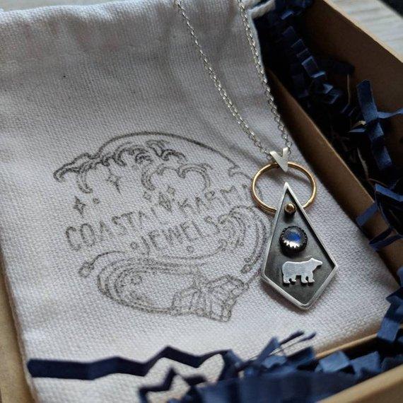 14k Gold filled, 925 Sterling Silver, Moonstone     West Coast Bear Pendant Necklace