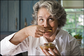 Monica Corrado tasting her fermented salsa. DELISH!!!!!!