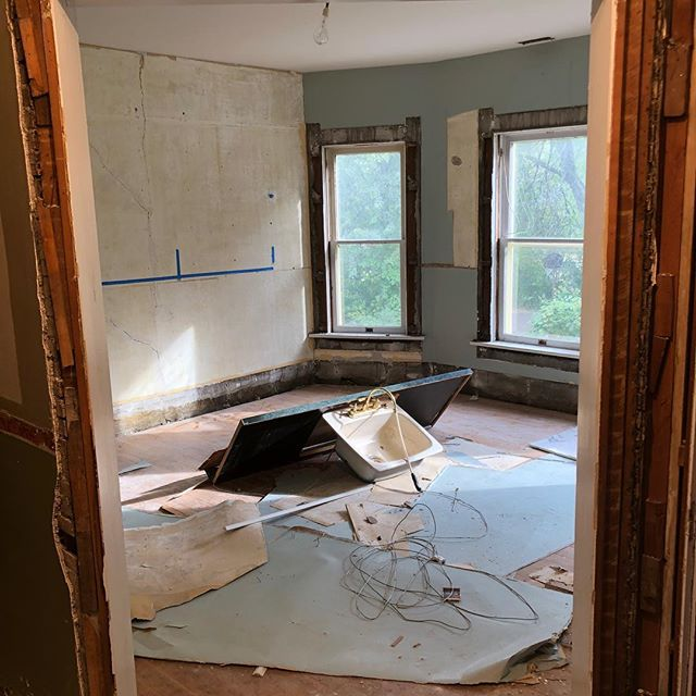 The entire upstairs of Sluhan's home was initially plastered, which had been removed along with the original lathe and insulation. Walls have been furred out to compensate for drywall to be in place, along with new electrical and insulation.