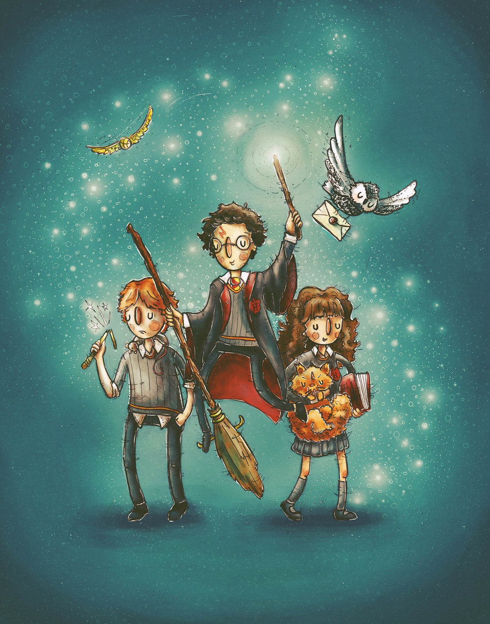 The Golden Trio: Harry, Hermione & Ron