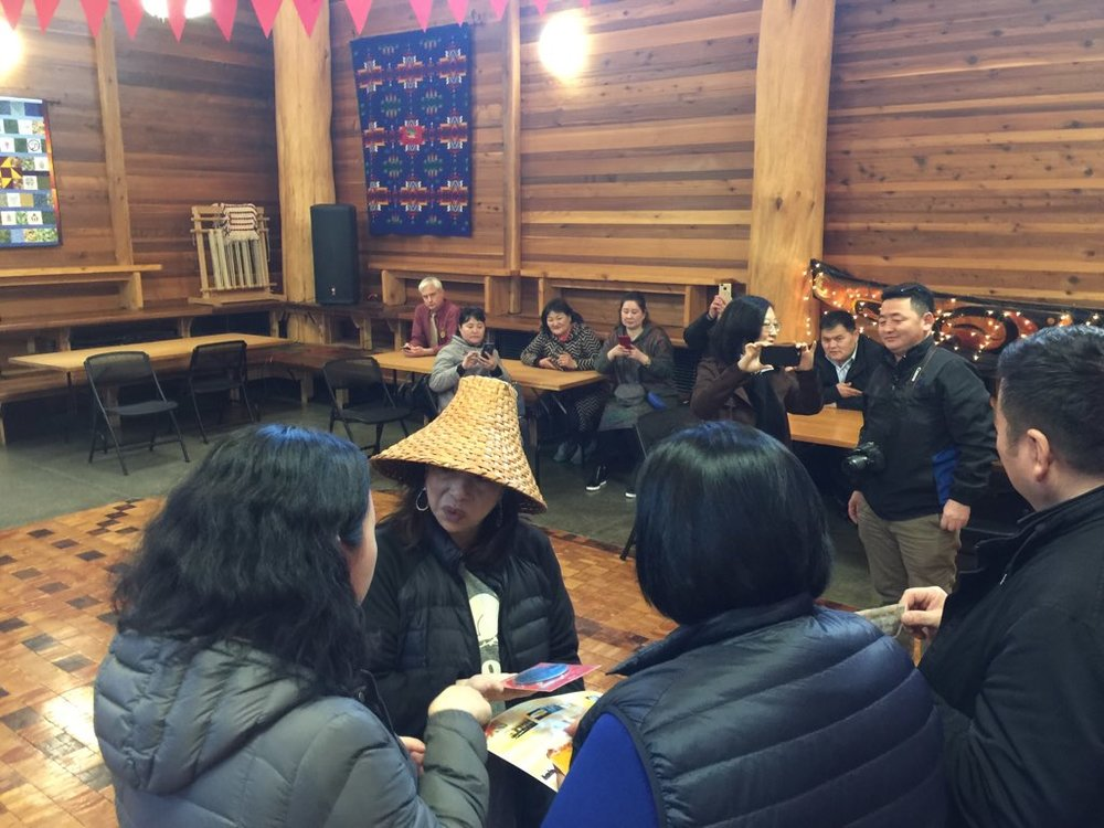 Visitors from the Bulgan Province of Mongolia with the University of Washington DEOHS visit the Duwamish at the Duwamish Longhouse and Cultural Center, January 2019.