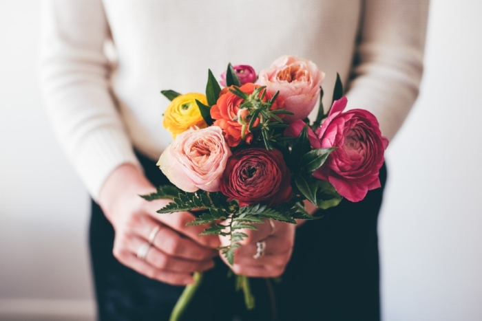 At wedding fairs I bring along a fresh bridal bouquet so you can have a go at holding one, most people say they're surprisingly heavy! Photo by  Sophie Carefull