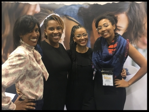 Tamara (2nd from left) during one of those conversations on the expo floor at FNCE 2017 in Chicago. Jerlyn Jones, RDN is to her left, and Wendy Lopez, RDN and Jess Jones, RDN of Food Heaven Made Easy to her right