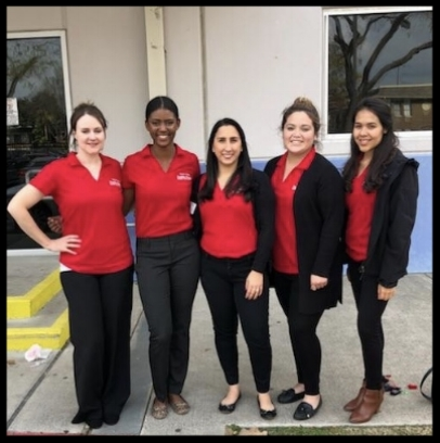 Deanna (2nd from left) and her dynamic team in Houston. From left Katie Newsome MPH, RDN, Esther Gabay RDN, Yesenia Garcia CHW, & Mayra Aquino MS, RDN