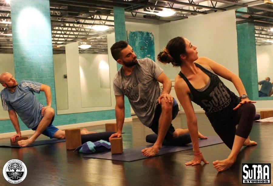 Teaching yoga for my Yoga Teacher Final class.