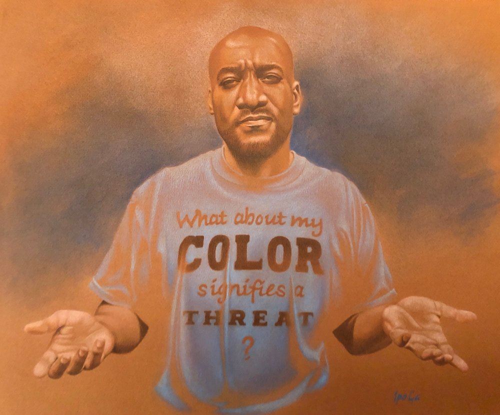 "Jeffery, Color Threat - Colored pencil and pastel""I am disturbed and saddened by the recent rise in racial tension in the U.S.A. I don't understand why, in the melting pot that is the United States, people of color are regarded with so much fear and suspicion. It doesn't feel like our country is moving toward anything that resembles ""greatness."" I'm using this gift God has given me to speak against the injustice of racial profiling and hoping that this piece will inspire a healthy open dialogue."""