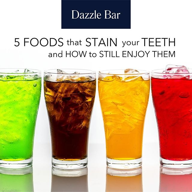 We all know that sugary, sticky foods aren't great for our teeth, but what foods are the worse when it comes to staining your teeth? Read on for our list of the top 5 foods that stain your teeth, plus what you can do to still enjoy them:  1. Sodas and Colas – These are really the worst. They contain acids which break down your enamel, plus coloring which stains and sugar which leads to plaque.  2. Coffee and Tea – Spoiler alert: If you read our previous post on how to drink coffee and keep your teeth white, you probably already know what our hint is at the end of this post. But you should know that coffee and tea are up on the list of worst foods for your teeth.  3. Soy Sauce – If you eat a lot of rice with soy sauce, or are a big sushi fan, you may want to cut back for your pearly whites. The dark colors of soy sauce will slowly stain your teeth over time.  4. Orange Juice – While it may not seem like an obvious culprit, the acids in orange juice, and other citrus fruits and juices can weaken your enamel and leave your teeth vulnerable. If you're drinking orange juice and coffee in the morning, it's a one-two punch that can lead to staining over time.  5. Red wine – Yeah, we know. As if coffee and orange juice weren't enough of a bummer. Don't worry, you're only moments away from our tip to help you cheat and enjoy even red wine sometimes. According to WebMD, you should avoid red wine because the acids in red wine plus the dark color erode your enamel and cause staining.  Ok, so what's the super secret way to enjoy these foods from time to time without doing long-term damage to your teeth and without losing that white smile?  Water.  Water is the best thing to drink after a meal, and especially after one of the worst foods that stain a white smile. If you can, rinse your mouth with water. Water washes away many of the sticky particles and staining tannins and colors of the worst foods so you can still enjoy them from time to time.  #healthysmile #teethwhitening #dazzle #sf #healthyeating #healthyteeth #smile #cleanthatdirtymouth