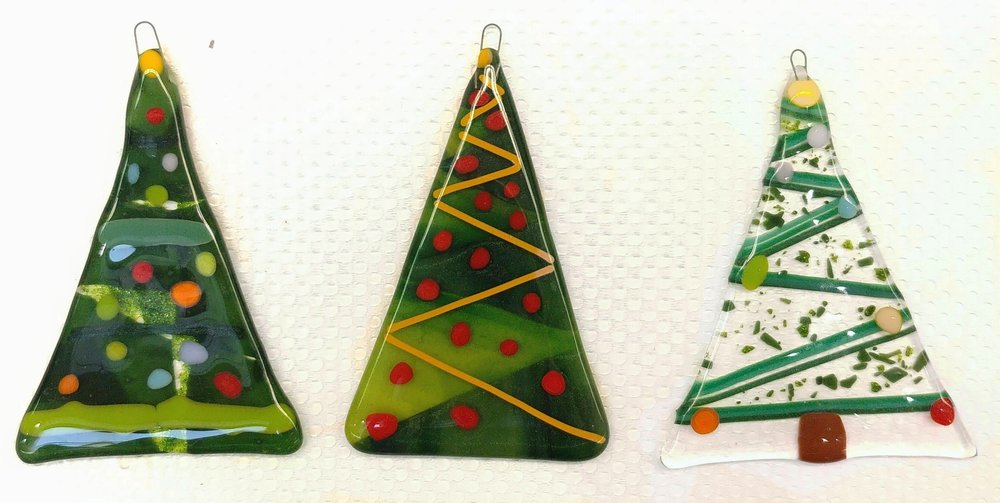 Finished fused tree ornaments!