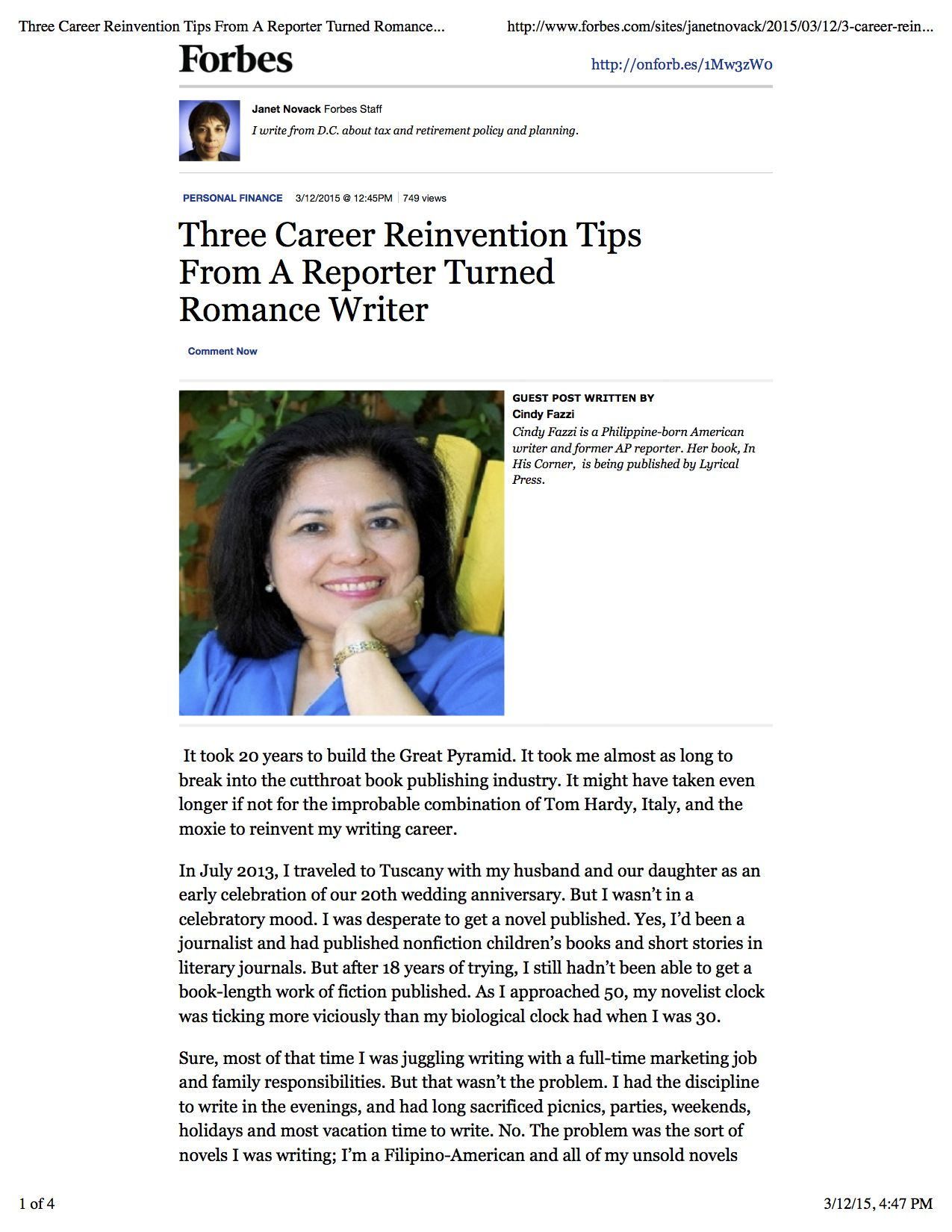 Forbes Article: 3 Career Reinvention Tips From A Reporter Turned