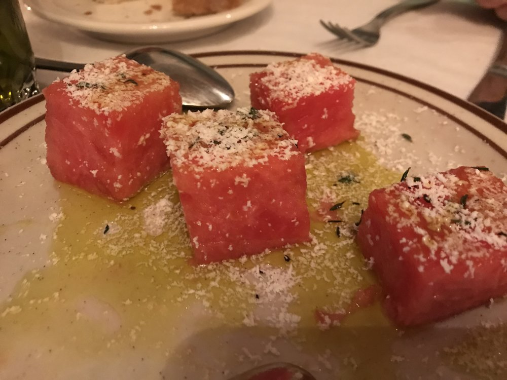 First Course: Watermelon with pecorino and truffle oil, sea salt