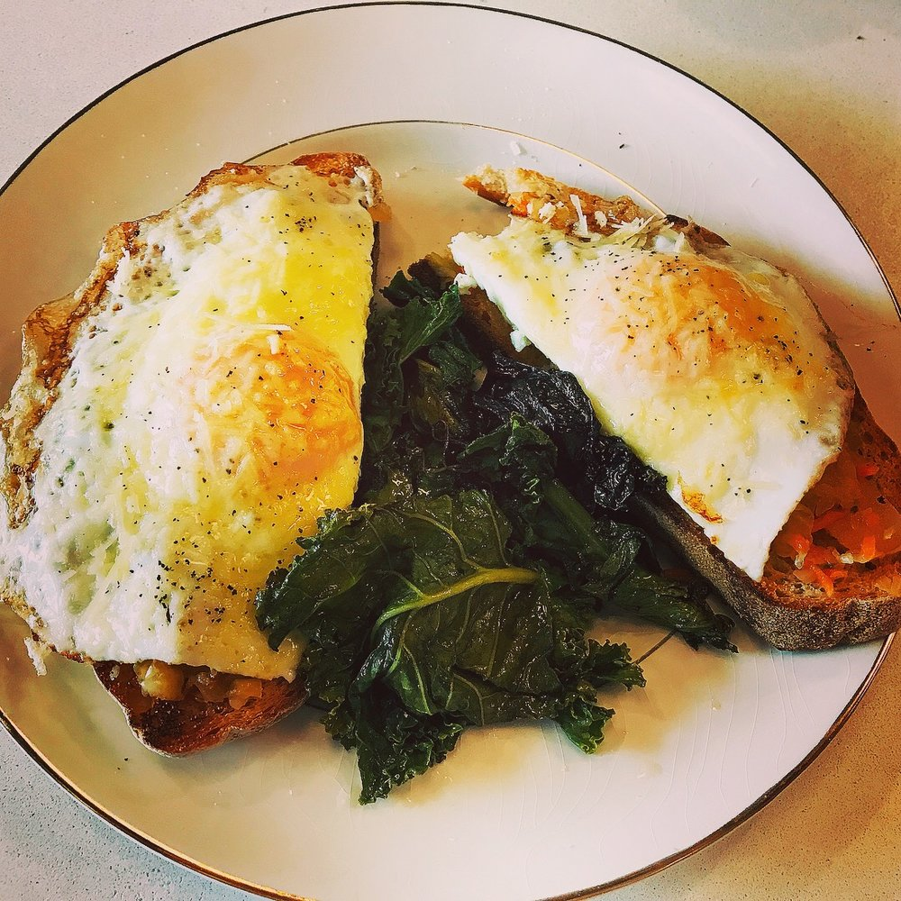 Zoey Eggs home made sourdough, farm eggs, KZ kraut, Dutch Knuckle cheese, maple smoked kale,