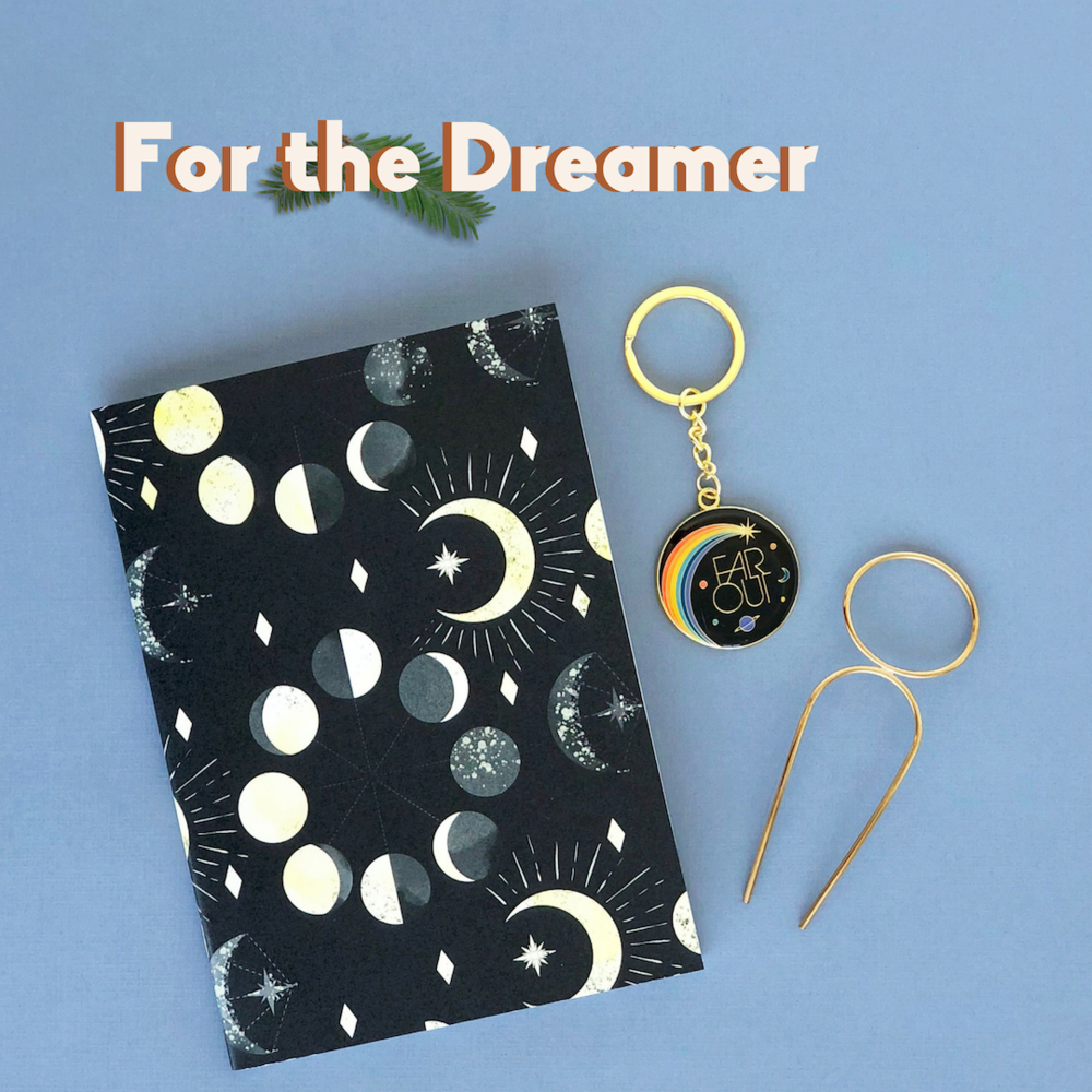 The Dreamer: Stars and Moon journal, Far out key chain, oval hairpin.