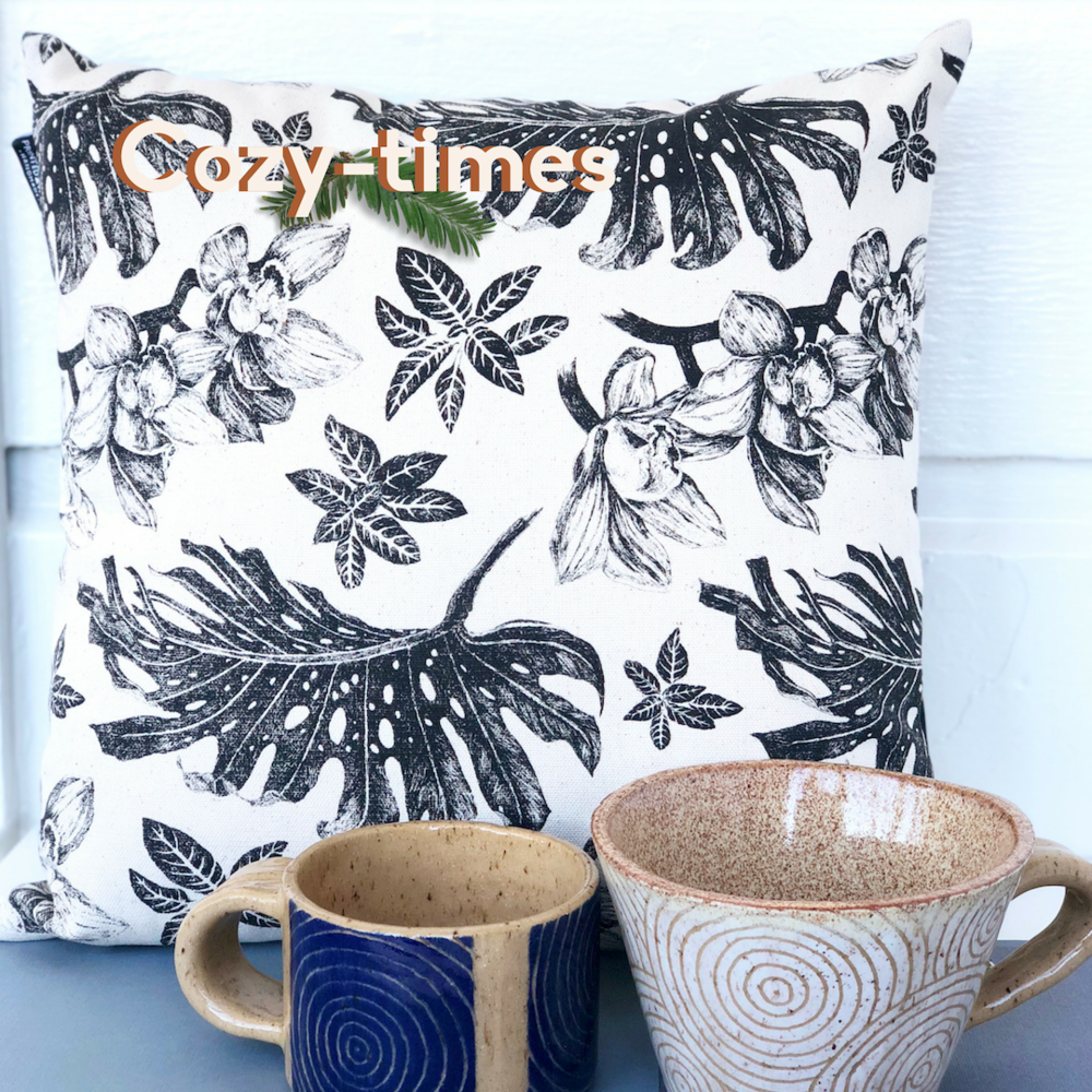 Cozy Times: Tropical pillow, blue coffee mug, white soup mug.