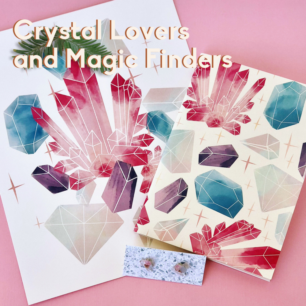 Crystal Lovers and Magic Finders: crystal print, gemstone journal, and quartz stud earrings.
