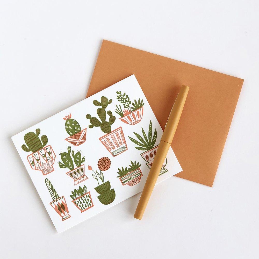 Letterpress cactus card by Paper Parasol Press