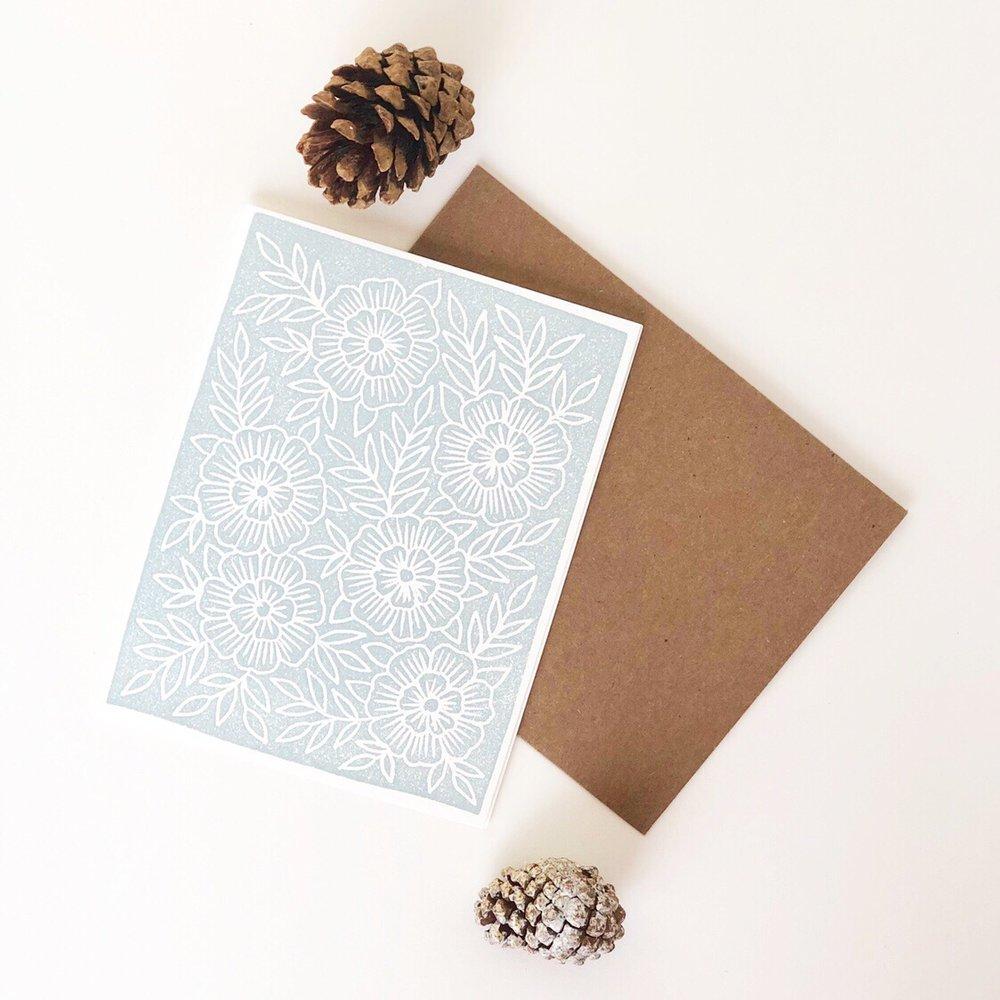 Block print card by Katharine Watson