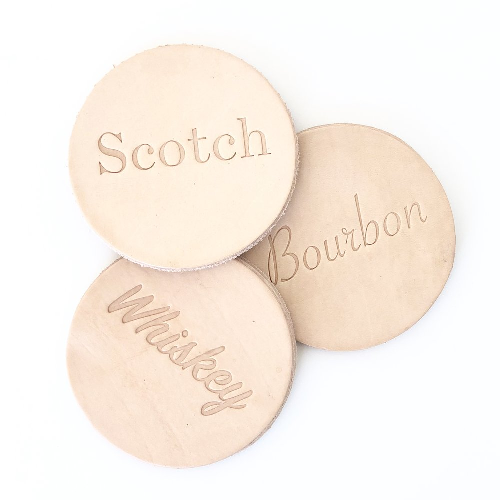 Leather embossed coasters: Scotch, Bourbon, Whiskey
