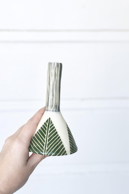 Green bud vase by Threet Ceramics
