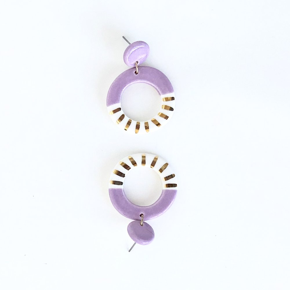 Purple ceramic earrings.