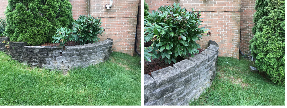 BEFORE: Improperly installed retaining walls can begin to bow out, sag and eventually become destroyed.